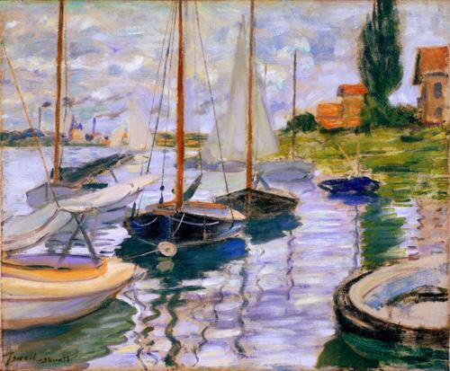 莫奈油画-塞纳河边的帆船
